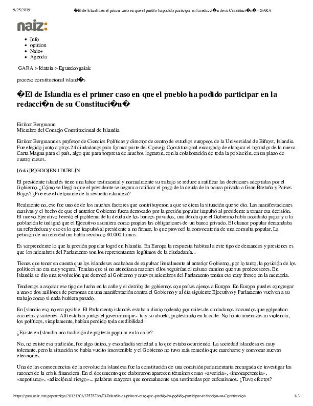 El de Islandia es el primer caso en que el pueblo ha podido participar en la redacci�n de su Constituci�n� - GARA.pdf