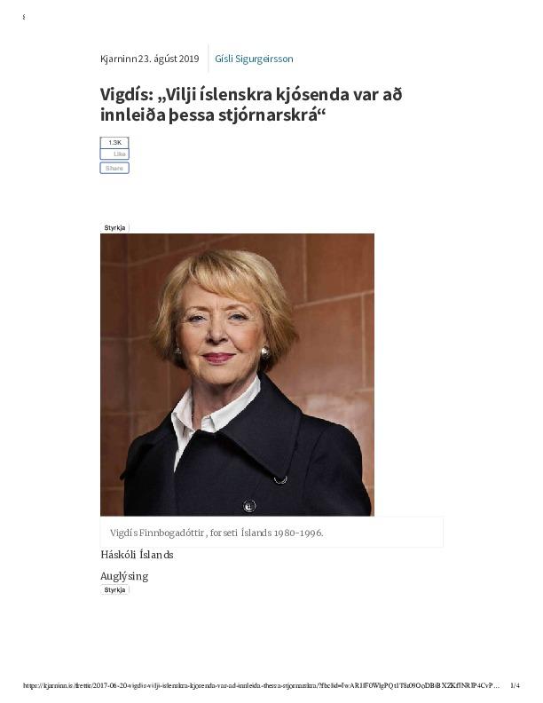 """Vigdís_ """"Vilji íslenskra kjósenda var að innleiða þessa stjórnarskrá"""".pdf"""