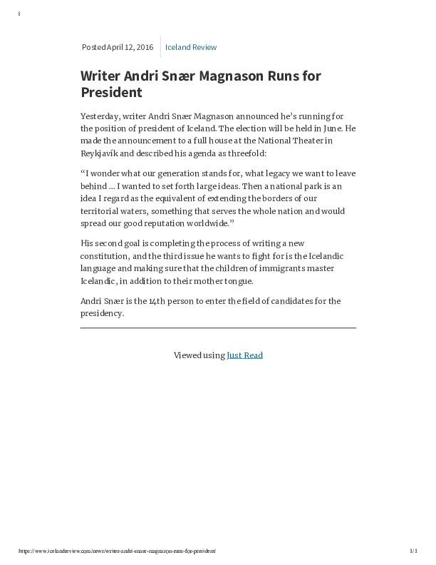 Writer Andri Snær Magnason Runs for President – Iceland Review.pdf